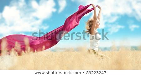 menina · adolescente · campo · de · trigo · amarelo · tecido · natureza - foto stock © simply