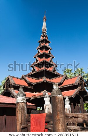 klooster · Myanmar · entree · hout · oude · stad - stockfoto © romitasromala