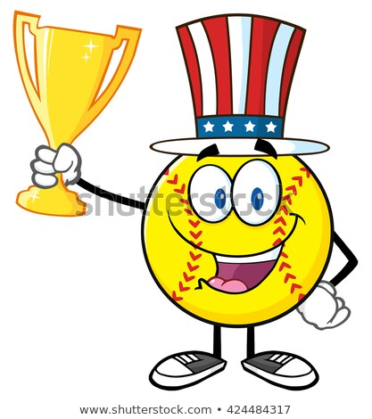 Happy Softball Cartoon Character With Patriotic Hat Holding A Trophy Cup Stock photo © hittoon