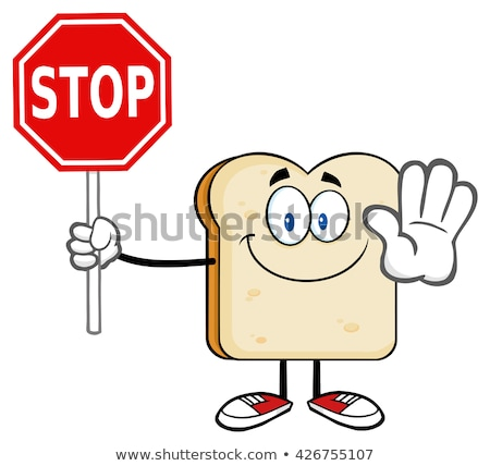 Smiling Bread Slice Cartoon Mascot Character Gesturing And Holding A Stop Sign Stock photo © hittoon
