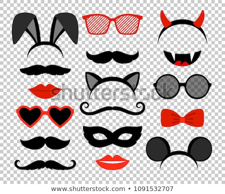 Moustaches And Lips Set Transparent Background Stock photo © adamson