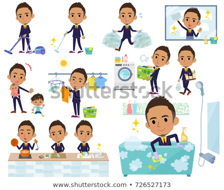 Short hair businessman black_housekeeping Stock photo © toyotoyo