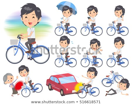 White short sleeved shirt business men ride on city bicycle Stock photo © toyotoyo
