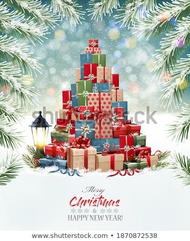 Kerstboom sneeuw Blauw vrolijk sneeuwvlokken Stockfoto © odina222