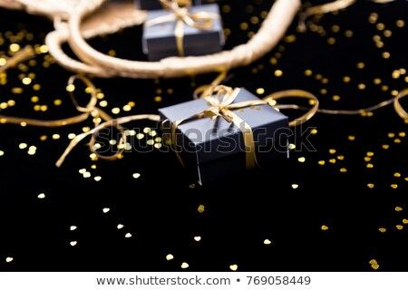 Feketefehér ajándékdobozok arany szalag pop ki Stock fotó © Illia