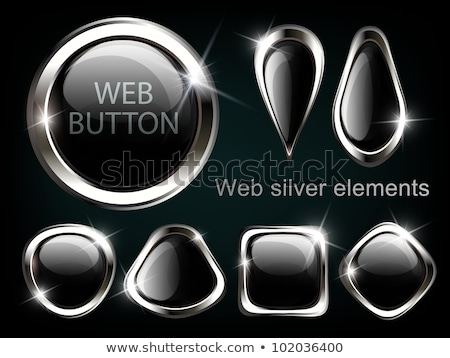 Silver shiny modern element. Silver Web button. Vector sticker. Part of set Stock photo © olehsvetiukha