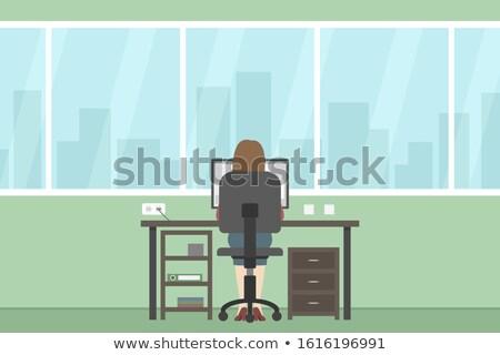achteraanzicht · vrouw · vergadering · tabel · met · behulp · van · laptop · computer - stockfoto © dashapetrenko