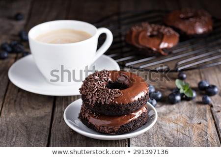 Glazed chocolate doughnut Stock photo © dash