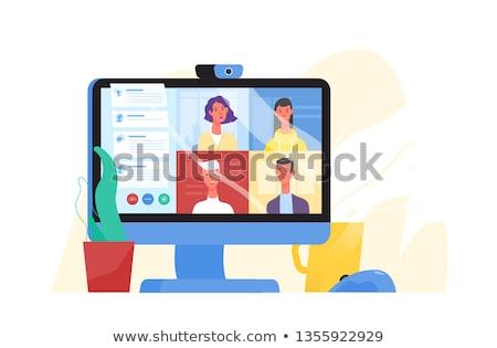 Foto stock: On-line · reunião · projeto · estilo · colorido · ilustração