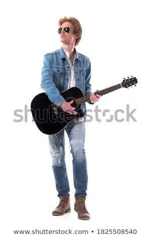 férfi · zenész · gitár · fények · zene · emberek - stock fotó © dolgachov