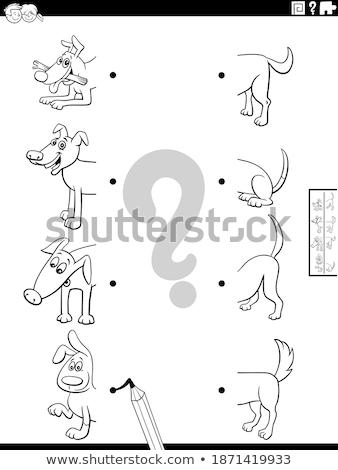 match halves of animal characters game color book Stock photo © izakowski