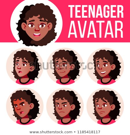 Teen Girl Avatar Set Vector. Black. Afro American. Face Emotions. Children, Young People. Life, Emot Stock photo © pikepicture