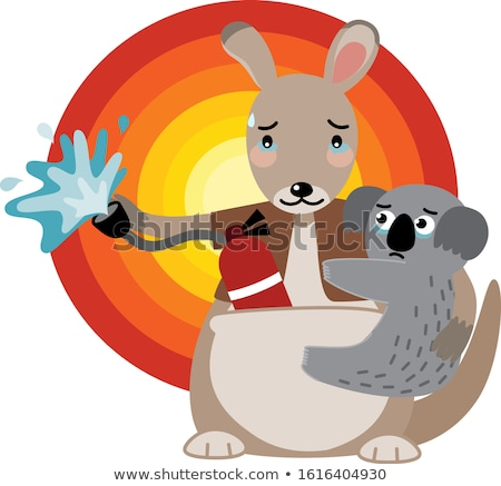 Szomorú kicsi kenguru rajz illusztráció néz Stock fotó © cthoman
