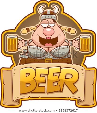 Cartoon viking vrouw bier label illustratie Stockfoto © cthoman
