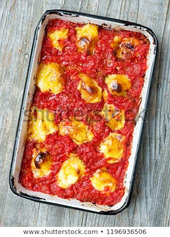 rustic italian baked ravioli pasta casserole Stock photo © zkruger