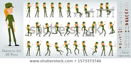 Angry Cartoon Girl Soldier Stock photo © cthoman