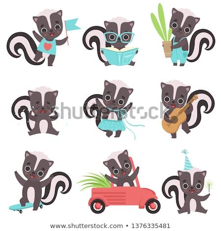 Cartoon skunks gitara ilustracja gry gitara elektryczna Zdjęcia stock © cthoman