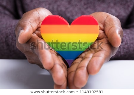 close up of man with gay pride flag Stock photo © dolgachov