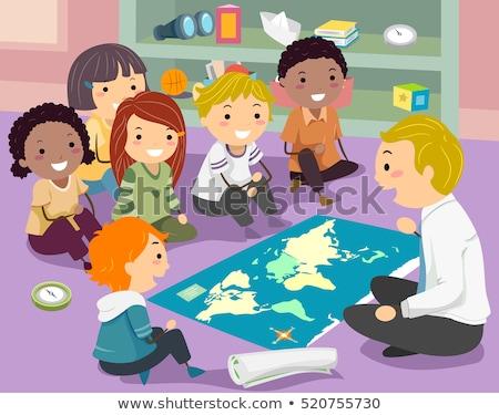 gyerekek · földrajz · osztály · tanár · illusztráció · csoport - stock fotó © lenm