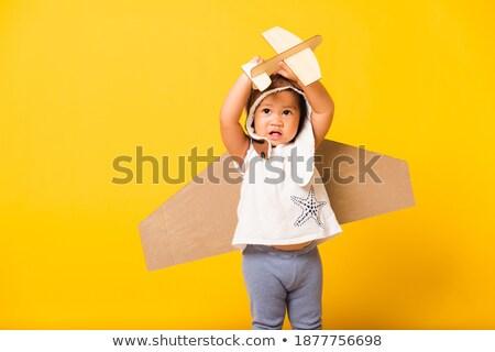 Foto stock: Retrato · pequeno · voador · bonitinho · cara · feliz