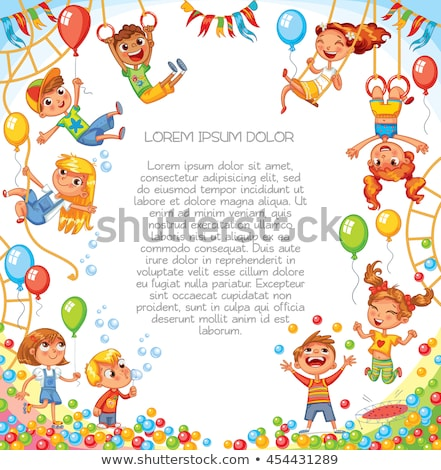 Children Have Fun Party. Amusement Park. Active Kids Jumping Stock photo © smeagorl