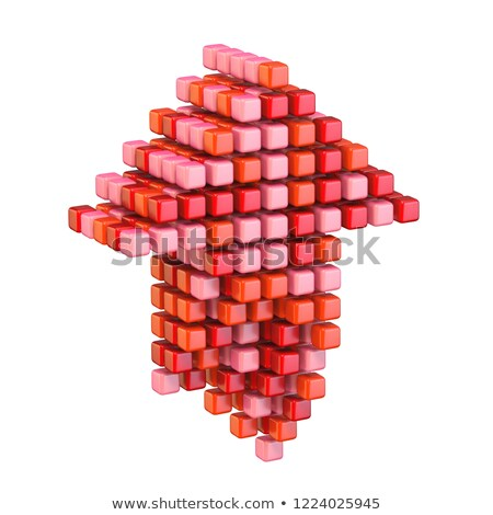 Upload arrow made of different red cubes 3D Stock photo © djmilic