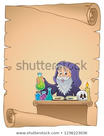 Foto stock: Tópico · pergaminho · livro · feliz · arte · tabela