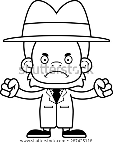 Cartoon Angry Detective Orangutan Stock photo © cthoman