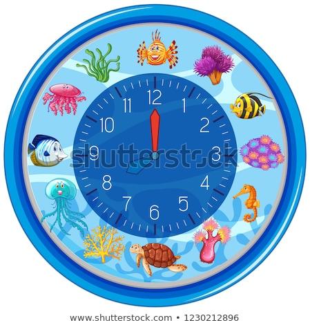 Albastru sub apă ceas sablon ilustrare peşte Imagine de stoc © bluering