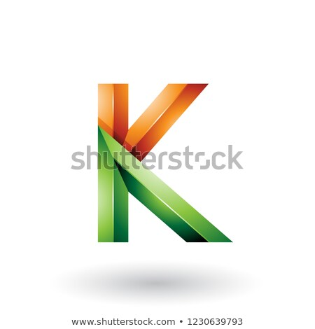 orange and green glossy 3d geometrical letter k vector illustrat stock photo © cidepix