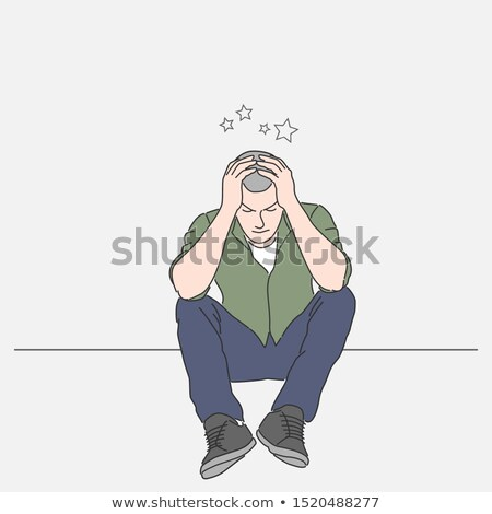 Hombre lesión cerebral carácter ilustración ojo salud Foto stock © colematt