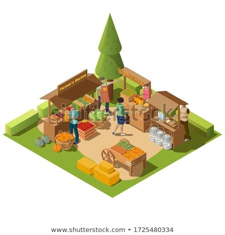 farmer and vendor icons set vector illustration stock photo © robuart