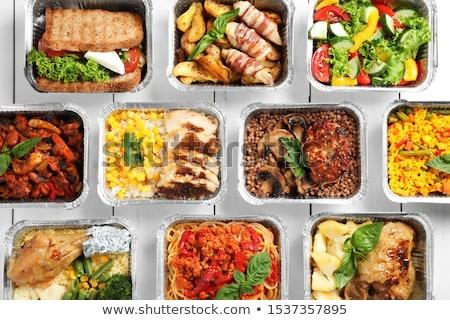 Voedsel lunchbox rijst groenten school groene Stockfoto © tycoon