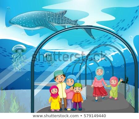 Foto stock: Muçulmano · pessoas · aquário · ilustração · menina · peixe