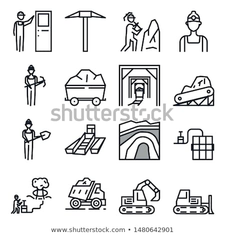 Bitcoin Currencies Icons Set and Workers Vector Stock photo © robuart