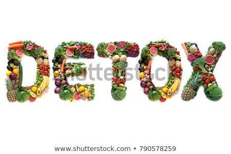 Detoxikáló nagy levelek gyümölcsök zöldségek villanykörte Stock fotó © unikpix