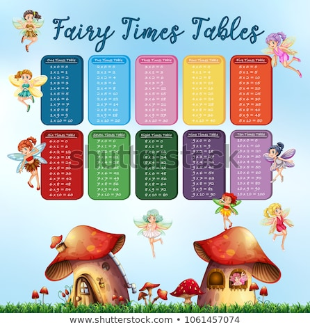 times tables chart with fairies flying in garden stock photo © colematt