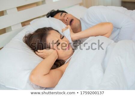 boos · vrouw · slaap · snurken · man · oren - stockfoto © lopolo