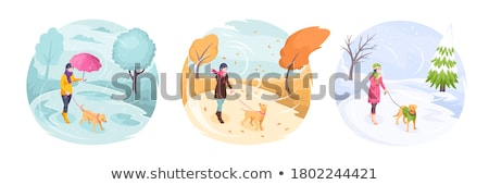 Winter and Autumn Warm Clothes, People Walking Stock photo © robuart