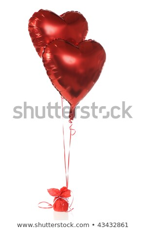 twee · Rood · ballonnen · vorm · hart · zonsondergang - stockfoto © dolgachov