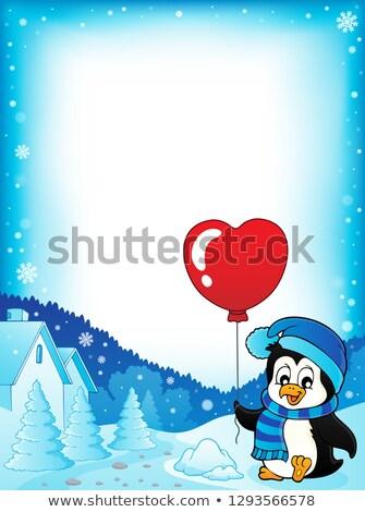 Cute Валентин пингвин кадр искусства птица Сток-фото © clairev