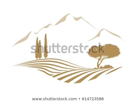 logo or icon of rural landscape with agricultural field and mountain stock photo © ussr