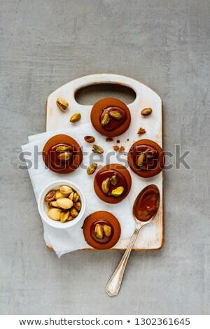 Foto stock: Caramelo · bolinhos · vintage · fundo · cozinha · bolo