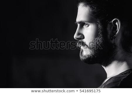 Siyah beyaz portre genç model uzun saçlı güzel Stok fotoğraf © studiolucky