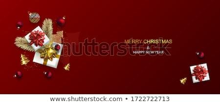 Weihnachten Geschenk Tanne Kranz Kugeln Feiertage Stock foto © dolgachov