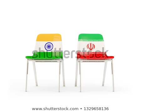 Two chairs with flags of India and iran Stock photo © MikhailMishchenko