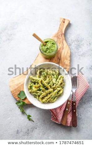 Fresh semolina pasta with pesto Stock photo © Peteer