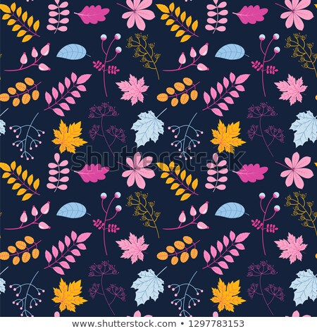 vector seamless pattern with leaves and twigs in yellow pink and blue colors on dark backgound stock photo © pravokrugulnik