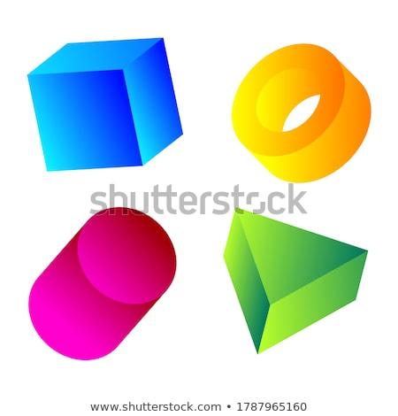 Stock photo: Green and Magenta 3d Pyramid Icon Vector Illustration