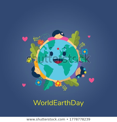 Earth Day card of mother nature hugging the planet Stock photo © cienpies